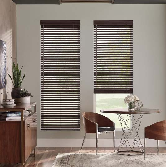 custom wood blinds in modern space